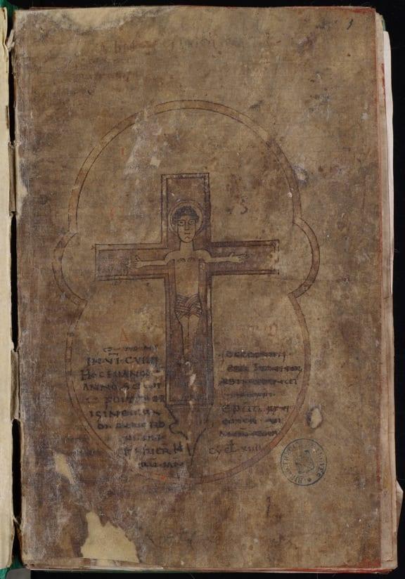 1Troyes, Bibliothèque municipale (Médiathèque Grand Troyes), MS 960, f.1, Crucifix (photo: Médiathèque Grand Troyes).