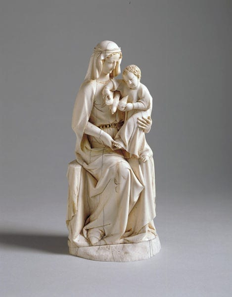 "1. Seated Virgin and Child, ""Rattier Virgin,"" ivory, 201 x 92 x 73 mm. London, Victoria and Albert Museum, 200.1867 (photo: © Victoria and Albert Museum, London)."