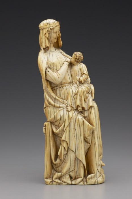 2. Seated Virgin and Child (Virgo lactans), ivory, 254 x 95 x 57 mm. New Haven, Yale University Art Gallery, 1949.100 (photo: Beinecke Rare Book and Manuscript Library, Yale University).