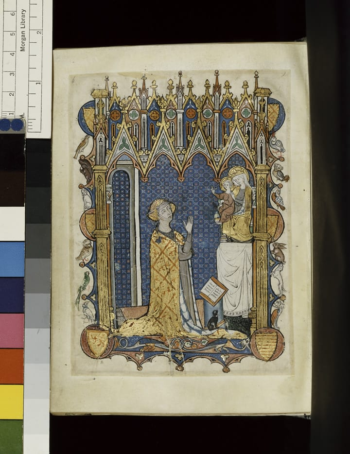 "3. Book owner kneeling in prayer, Matins of the Hours of the Virgin, Psalter-Hours ""of Yolande of Soissons,"" c.1290, Amiens. The Pierpont Morgan Library, New York. MS M.729, fol. 232v. Purchased in 1927 (photo: © The Pierpont Morgan Library)."