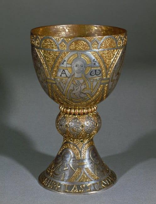 9.Chalice of Duke Tassilo, South Germany/Alemannic region (Salzburg?), gilt copper alloy, silver, niello, 27cm, ca. 777-788. Kremsmünster (photo: © Erich Lessing / Art Resource, NY).
