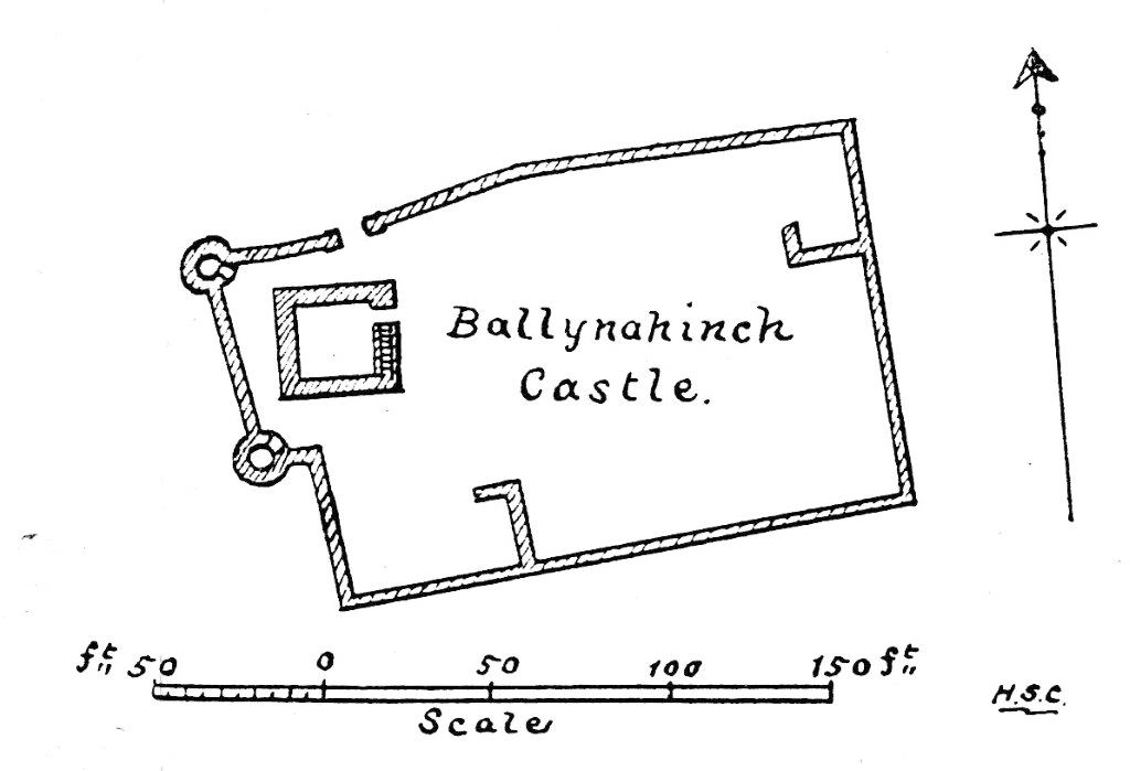 "Fig. 4. Plan of Ballynahinch Castle, Co. Tipperary, Ireland. Reproduced from Henry Crawford, ""Ballynahinch Castle, County Tipperary,"" Journal of the Royal Society of Antiquaries of Ireland 36, no. 4 (1906): 423, Fig. 1"