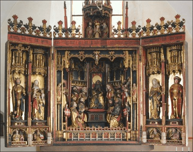 Fig. 1. Workshop of Bernt Notke, The Miracle of the Pentecost with Saints and the Coronation of the Virgin, third view of the Holy Spirit altarpiece, 1483. Church of the Holy Spirit, Tallinn, Estonia (Photo by the kind permission of Gustav Piir, Church of the Holy Spirit, Tallinn)
