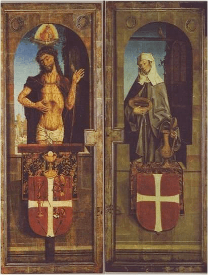 Fig. 2.Workshop of Bernt Notke, Christ as the Man of Sorrows and St Elisabeth of Thüringia, first view of the Holy Spirit altarpiece, 1483. Church of the Holy Spirit, Tallinn, Estonia (Photo by the kind permission of Gustav Piir, Church of the Holy Spirit, Tallinn)