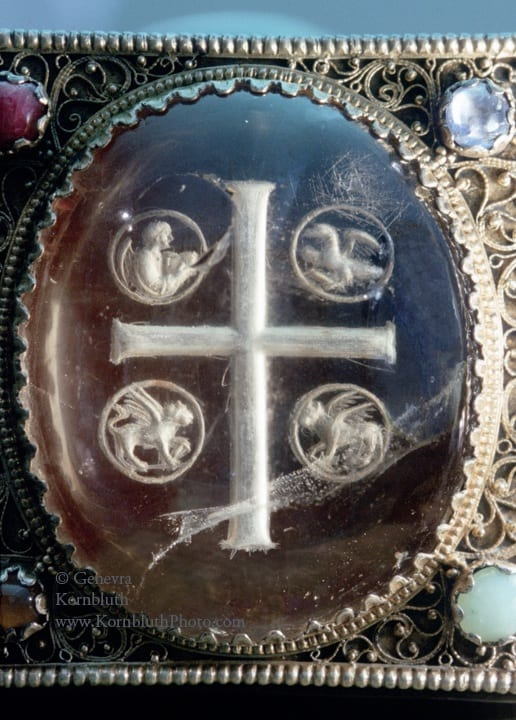 16. Evangelist Symbols with Cross, rock crystal intaglio, unengraved obverse, visible stone, 5.5 x 4.5 cm, c.820-60. Toledo, Ohio, Toledo Museum of Art, 1950.287  (photo: author).