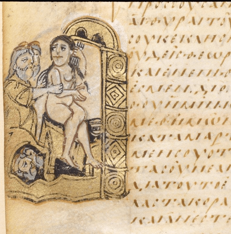 Fig. 2. Susanna spied upon by the Elders; the bath of Susanna, Sacra Parallela, Rome (?), after 843 (?). Paris, Bibliothèque nationale de France, gr. 923, fol. 373v (© BnF Paris)