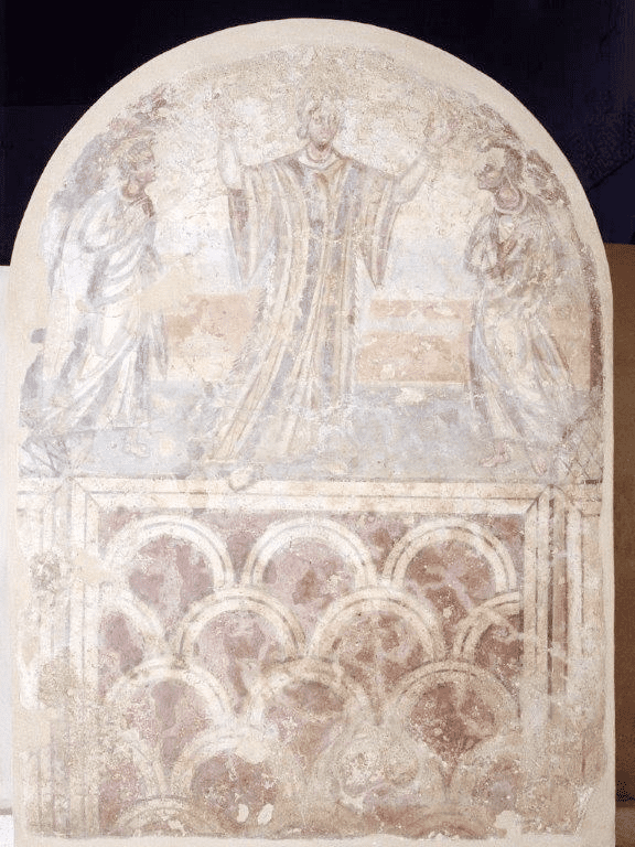 Fig. 3. Susanna in orant posture with the Elders, Thessaloniki, fresco from a local tomb, early fifth century. Thessaloniki, Museum of Byzantine Culture (BT 17B) (Photo: Museum of Byzantine Culture)