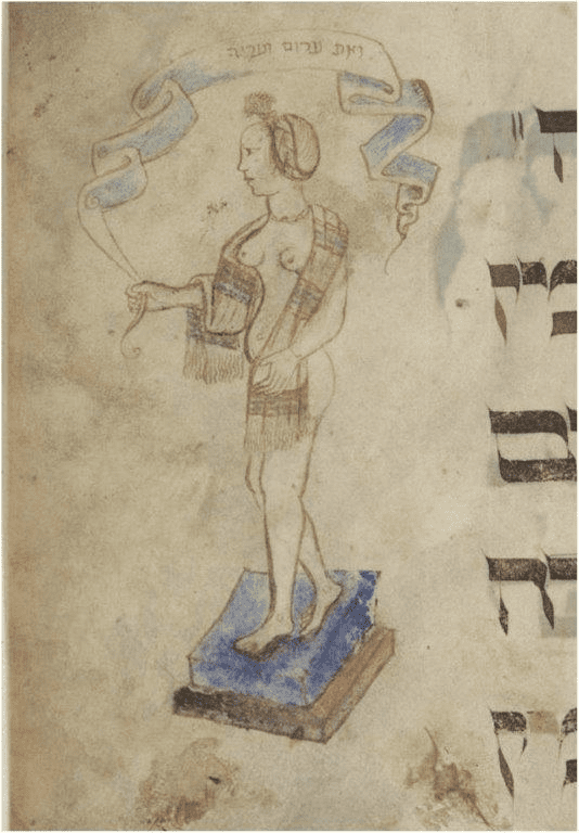 """Fig. 10.""""You were naked and bare"""" (Ezekiel 16:7),Murphy Haggadah, Northern Italy, ca. 1455. Jerusalem, The Jewish National and University Library, Ms. Heb. 4º6130, fol. 10r (© The Jewish National and University Library Jerusalem)"""