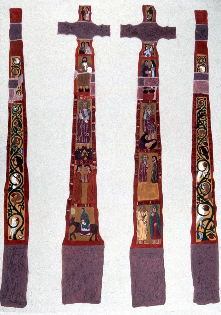 10.  The Ruthwell Cross as it may have appeared painted; reconstruction prepared by Darren Worsley (photo: courtesy the Manchester Museum, The University of Manchester, England).