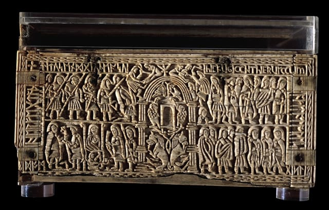 5.  The Franks Casket, back panel, whalebone, 229mm x 190mm x 109mm. London, British Museum (photo: © Trustees of the British Museum).