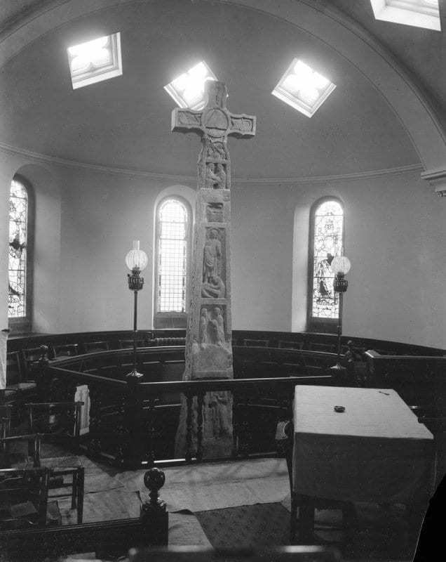 8.  Ruthwell Cross, as installed in the apse of Ruthwell Church, sandstone, 5.2 m tall, Dumfriesshire, Scotland (photo: © The Royal Commission on the Ancient and Historical Monuments of Scotland).