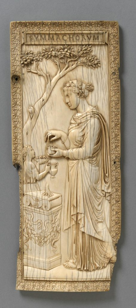 Fig. 8. Diptych of Nicomachorum and Symmachorum: Priestess of Bacchus. Rome, 400. Victoria and Albert Museum, no.212-1865