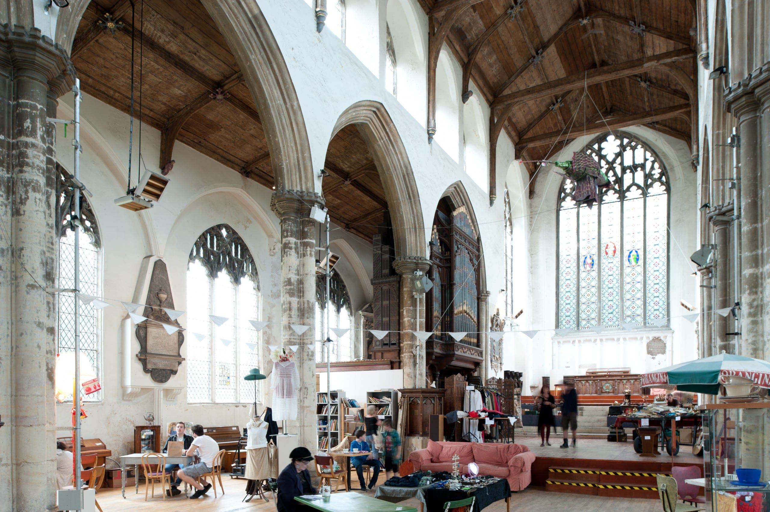 Fig. 1: Interior of the former parish church of St. Gregory Pottergate, Norwich, England, late 14th century, view looking northeast (author's photo).