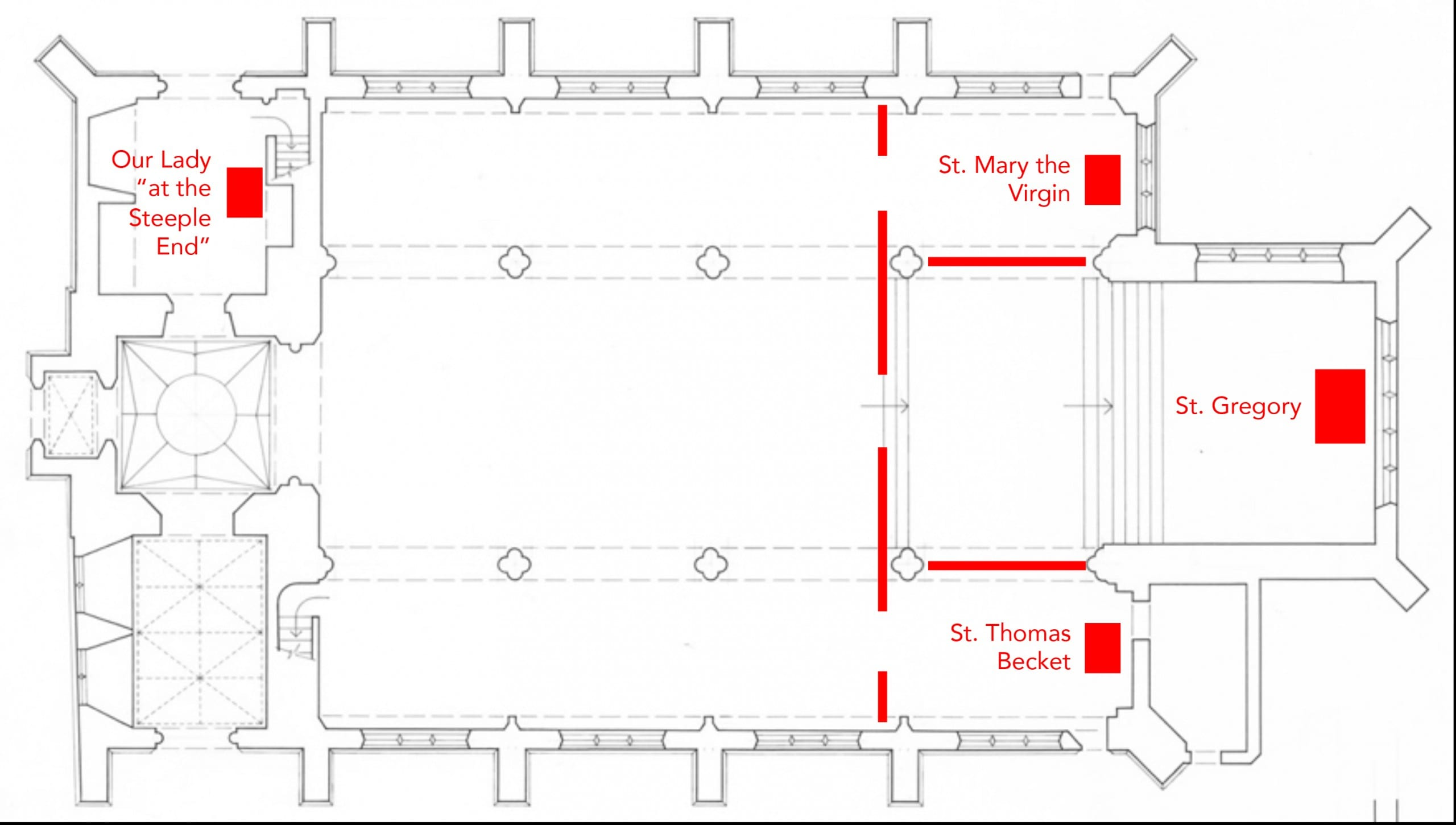 Fig. 4: Floor plan illustrating the location of altars in St. Gregory Pottergate, Norwich, England, before the Reformation
