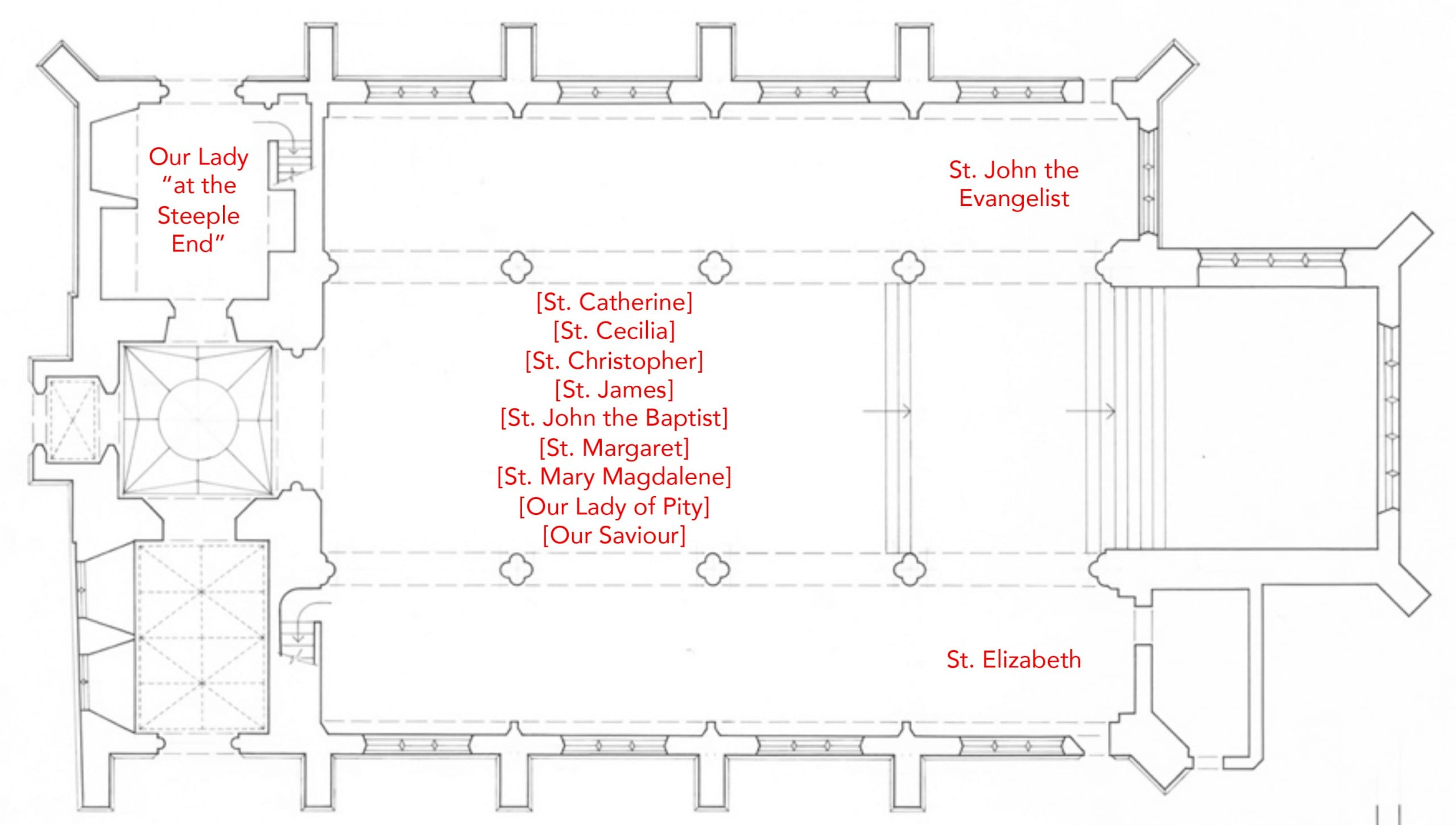 Fig. 5: Floor plan illustrating the location of devotional images in St. Gregory Pottergate, Norwich, England, before the Reformation